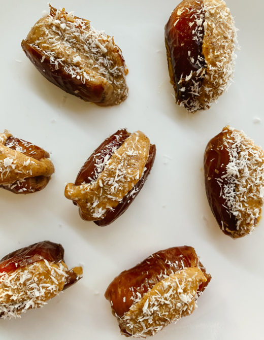 Almond Butter Stuffed Dates Recipe featured by top LA lifestyle blogger, Tea Cups & Tulips